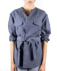 giacca sahariana in cotone con cintura in vita Angy e panatlone a palazzo Carmen Dep 10