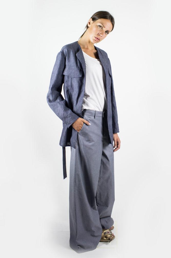 giacca sahariana in lino con cintura in vita angy dep 2