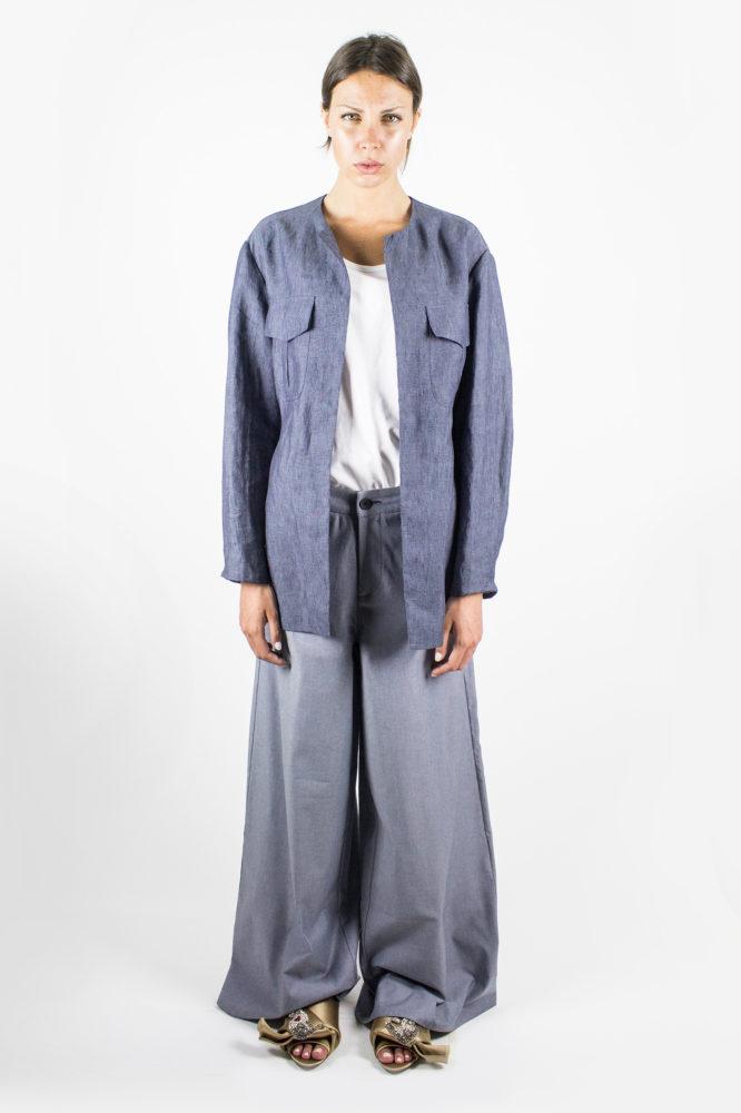 giacca sahariana in lino con cintura in vita angy dep 3