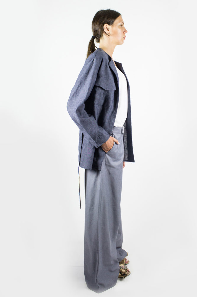 giacca sahariana in lino con cintura in vita angy dep 4