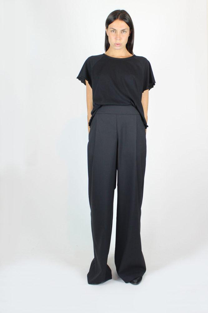 pantalone ampio a vita alta con pince 9