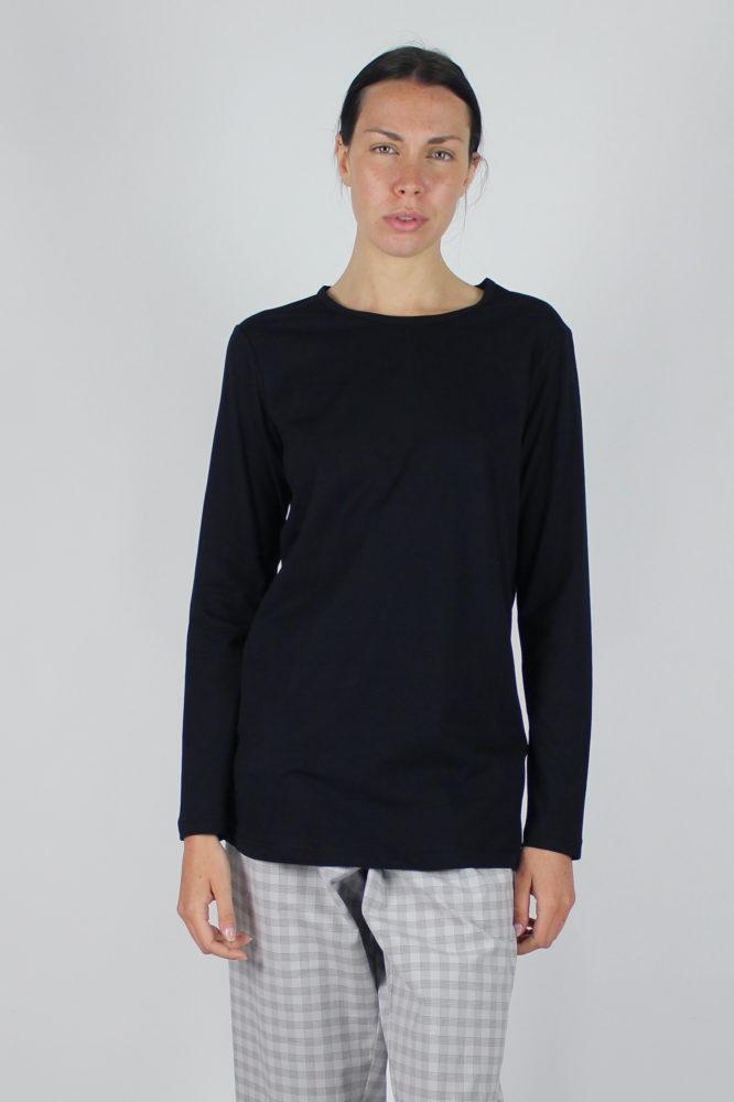 T-shirt a giro con manica lunga nera e pantalone con pinces dep 2