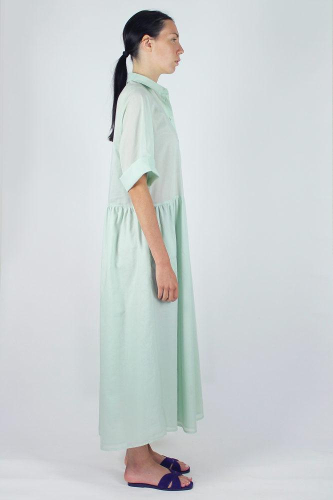 abito camicia verde ampio lungo con manica corta Alanis Dep 1 copia