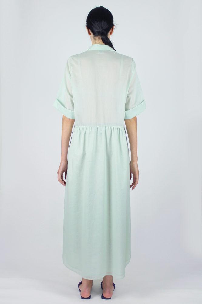 abito camicia verde ampio lungo con manica corta Alanis Dep 2 copia