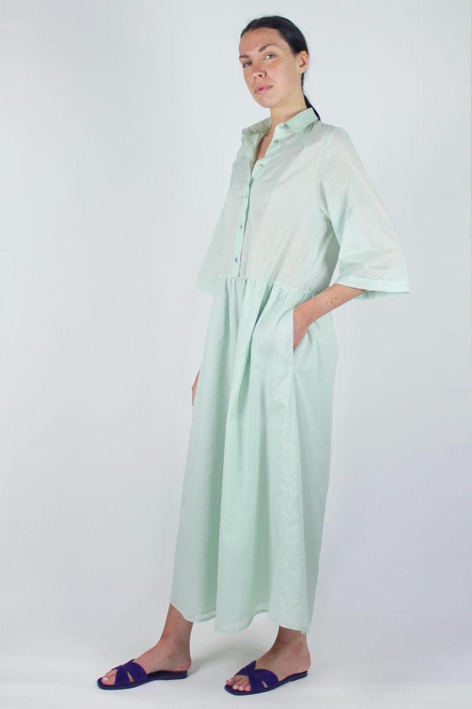 abito camicia verde ampio lungo con manica corta Alanis Dep 4 copia