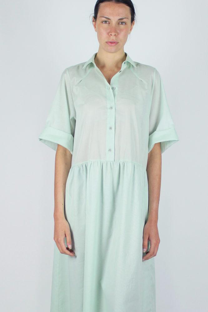 abito camicia verde ampio lungo con manica corta Alanis Dep 5 copia