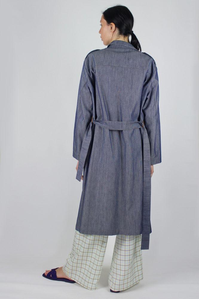trench in denim e pantalone lungo ampio sul fondo Dep 2 copia