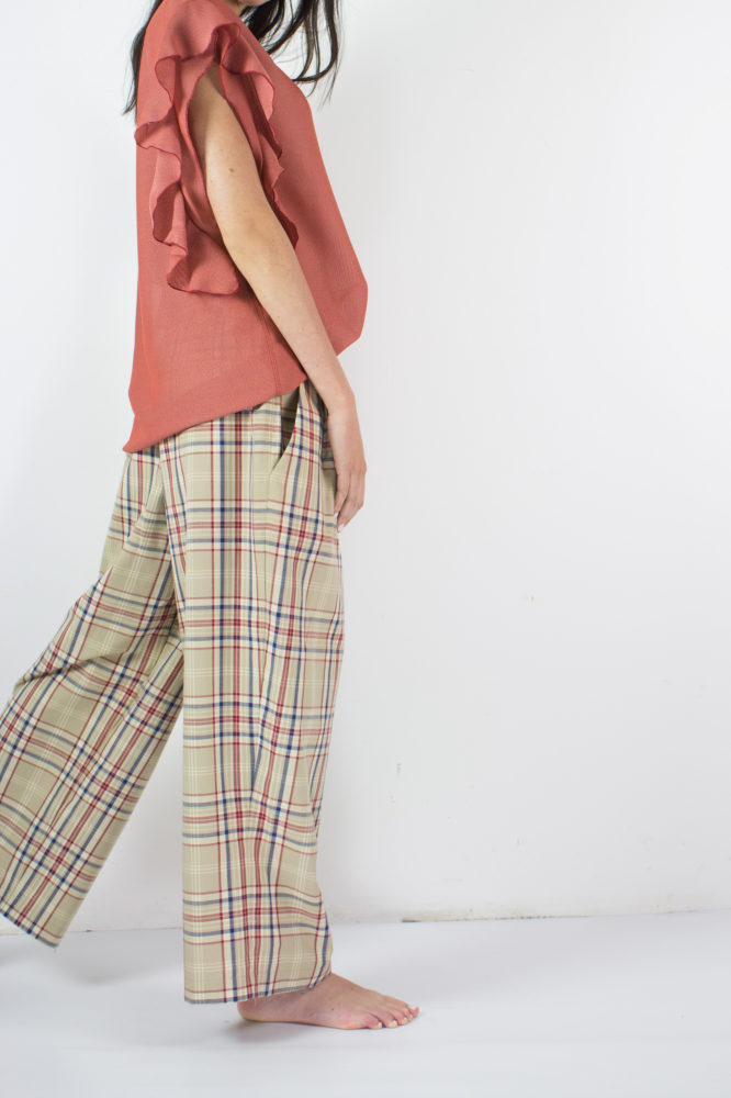 pantalone con pinces e bottoni a vista in cotone Walter Dep 10 bis