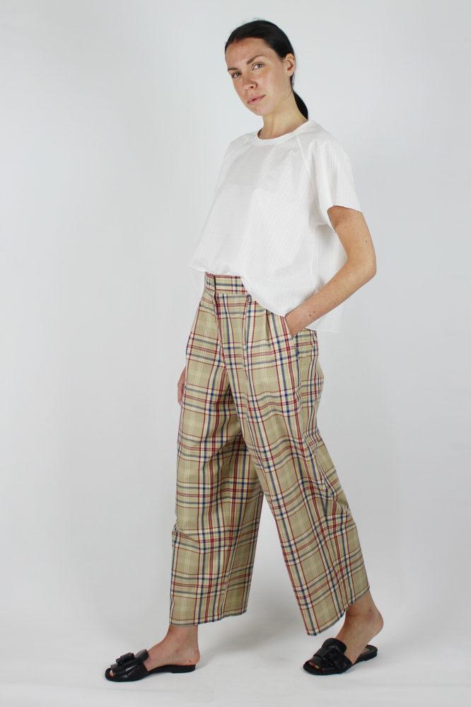 pantalone con pinces e bottoni a vista in cotone Walter Dep 4 bis