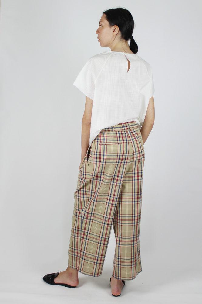 pantalone con pinces e bottoni a vista in cotone Walter Dep 5 bis copia